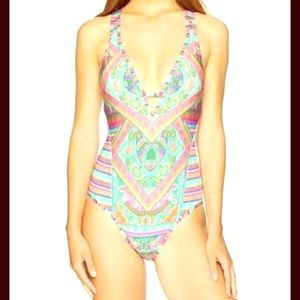 Laundry by Shelli Segal one-piece swimsuit, sz L.